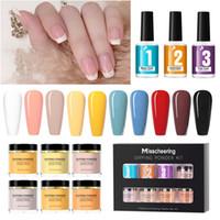 6 colori / set completo pacchetto immergersi in polvere kit nail art glitter senza cucinare luce francese francese punta rosa e bianco