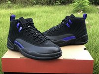 2020 Air Authentic 12 Dark Concord Basketball Shoes Indigo Reverse Flu Game Black Purple Retro Real Carbon Fiber 12S Men Sneakers With Box