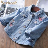Bear Leader Girl Denim Jacket Coat Flower Embroidery New Children's Spring Autumn Coat Kids Jacket Baby Coat Girl's Baby Jacket