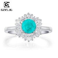 Anéis de cluster gzxsjg paraiba tourmaline tanzanite pedras preciosas anel para as mulheres sólidas 925 esterlina de noivado de prata noiva única joias finas