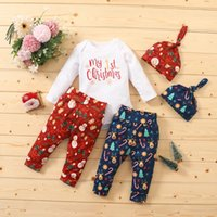 My First Christmas Letter Newborn Infant Baby Boys Girls Sets Clothing 1st Christmas Romper Tops Pants+hat Xmas Outfits Set