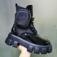 أحذية النساء أحذية رويس نايلون ديربي الكاحل مارتن مع الحقيبة معركة براءات الاختراع أحذية جلدية القتال أحذية المطاط الأسود الوحيد منصة