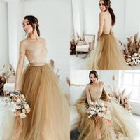 2020 New Champagne Country Weding Dresses With Long Sleeve A Line Floor Length Lace Tulle Garden Bridal Gowns Sexy Illusion Engagement Dress