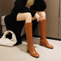 YMECHIC 2020 del dedo del pie cuadrado de la manera Negro de plata Rodilla Botas para mujer Bloquear los altos talones de caballero botas de montar a largo femeninos Zapatos 43 42