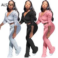 Bayan Eşofman Derin V Boyun Uzun Kollu Kapşonlu Özel Tasarım Kırpma Üst Ve Pantolon 2 Parça Set Yüksek Sokak Lady Moda Eşofman