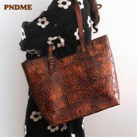 PNDME vintage handmade embossed genuine leather women tote bag designer luxury handbags large capacity ladies shopping bag