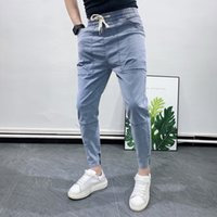Summer for All Match Streetwear Slim Fit Mens Jeans Casual Fashion Patchwork Design Ankle Length Denim Trousers Men 36