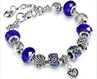 Panelas Estilo Prata Banhado Áustria Murano Glass Beads Coruja Encantos Coração Diamante Pingentes Pulseiras com 19 + 3cm em 6 cores