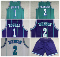 Retro Muggsy Bogues Larry Johnson Charlotte Basketbol Jersey 3 Renkler Tüm Dikişli Yüksek Kalite Ücretsiz Kargo