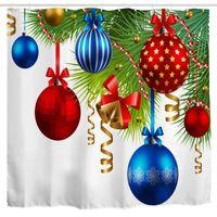 Cortinas de ducha Tela de cortina de bola de Navidad, adornos coloridos en el árbol de pino Twig Imprimir Cortina de arte, poliéster de Navidad