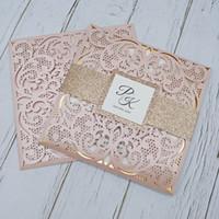 Nuovo Blush Pink Personalizzato Stampa Laser Tagliato da sposa Party Cards con glitter band Bancia e tag FAI DA TE Gold Mirror Specchio Inserire la doccia nuziale Inviti