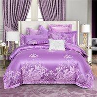 Jacquard de algodón de lujo Jacquard Classics Conjunto de ropa de cama Lustre Duvet Funda Juego Hoja de cama Funda de almohada Twin Queen Super King Tamaño 4pc