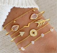 Armband Schmuck Damenmode Goldarmband geöffnete Stulpe-Armband-Pfeil-Edelstein-Diamant-Armband-Schmuck-Set B09141
