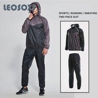 LEOSOXS Academia Suit Men Outono Inverno Corrida Formação Hot Sweatsuit Suor Vestuário manga comprida da aptidão que funciona Set de duas peças
