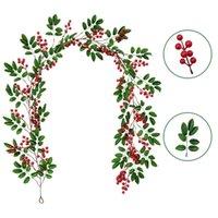 Декоративные цветы венки 195см искусственный виноградный ротанг оливковое листовое растение рождественские красные фрукты длинная цветочная композиция амосфера