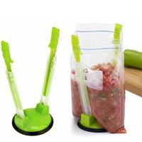 Hands Free Baggy rack plástico Baggy Opener cremalheira Clipe Food Storage Bag Suporte Suporte de Ferramentas Máquina de cozinha