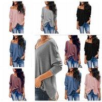 Mulheres Camisolas Moda V-neck pulôver manga comprida Primavera Outwear Feminino Blusa Tops solto Sweatershirt menina camisola Top Vestuário LSK1216