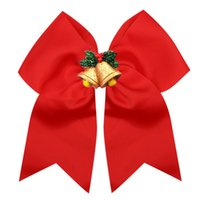 7.5 inch grote sequin cheer boog kerst elastische haarbanden lint haar boog voor cheerleading kind meisje haaraccessoires 20pcs