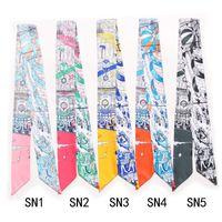 Lenços clássico marca saco lenço digital impresso paris rua vista mulheres fita pequena fita fita fitas bolsa B17