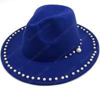 Donne Uomini di lana Fedora Cappello Con del nastro della perla Gentleman Elegant Lady Inverno Autunno Wide Brim Chiesa Panama Sombrero protezione di jazz