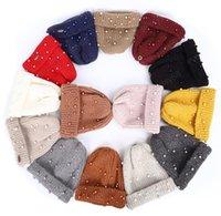 새로운 가을 겨울 모자 럭셔리 진주 리얼 모피 응원 모자 비니 여자 여성 야외 따뜻한 여성을위한 스키 보닛 겨울 모자
