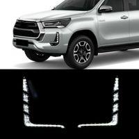1 Paar Auto LED Tagfahrlicht Runde Gelbes Signalrelais 12V DRL Tageslicht für Toyota Hilux Revo Rocco 2020 2021