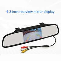 Car Video 4.3 Inch HD Rearview Mirror Monitor LCD Screen Vehicle High Clear Auto Parking Reversing Auxiliary Display AV1/AV2 DC12V