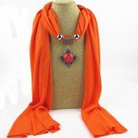 Korean Necklace Pendant Cotton Scarf Islam Muslim Hijab Winter Female Multifunctional Warm Shawl Alloy Beaded Pendant Bib N24