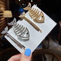 Vintage Bang Haarspelden Metalen CZ Crystal Haarstroken Grappige Fishtail Fish Bone Clip Dames Haar Sieraden Hoofddeksels Accessoires Gift