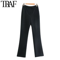 TRAF Frauen arbeiten Büro Wear Seitentaschen Schlaghosen Vintage-hohe Taillen-Zipper weibliche Hose Mujer