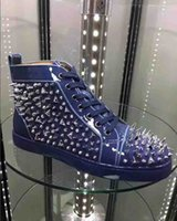 Fashion Designer Pik Pik Spikes High Top Sneakers in vitello scarpe per le donne, gli uomini rossi delle scarpe da tennis pattini inferiori pelle verniciata con borchie completa