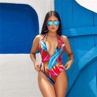 عارية الذراعين أزياء صالح سليم Famale الملابس عارضة ملابس السيدات الصيف مثير مطبوعة قطعة واحدة ملابس السباحة الرسن الرسن