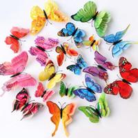 Ev Dekorasyon Çift Wings Mıknatıs Kelebekler Buzdolabı Çıkartma Ev Dekorasyonu Çıkarılabilir 3D Duvar Etiketler Ev Dekorasyonu HHB1714
