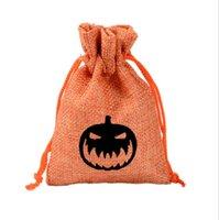 Halloween Kürbis Ghost Geschenk Taschen Aufbewahrungstasche Weihnachten Süßigkeiten Taschen Kordelzug Wickel Jute Tasche Creative Party Oornament Supplies 10 * 14 cm GWE8844