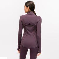 L-78 otoño invierno nuevo cremallera chaqueta secado rápido yoga ropa de manga larga pulgar tono entrenamiento de entrenamiento corriendo chaqueta mujer delgado abrigo fitness