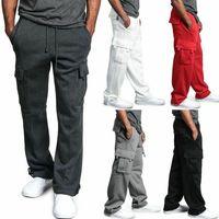 Erkek Kargo Pantolon Joggers Pamuk Ter Pantolon Egzersiz Gevşek Pantolon Uzun Erkek Spor Sweatpants Hip Hop Streetwear 4XL
