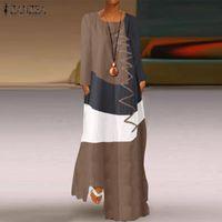 2020 ZANZEA Frauen-Weinlese-Baumwollleinen Sundress beiläufige lange Hülsen-Farbe Pacthwork Kleid Herbst Maxi lange Vestido Robe Kaftan