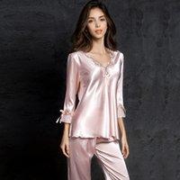 Ev Suit pijamalar 200.919 Sleeping İnce Bud Silk pijama pijama kadın Kadın pantsuit kadın Buz İpek Suit Uzun Kollu ipek