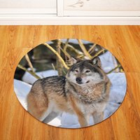 80cm Animal Photography Wolf Circle Room Floor Mat Kitchen B...