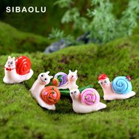 다채로운 달팽이 정원 소형 입상 만화 동물 홈 인테리어 장식 케이크 미니 요정 정원 장식 장난감
