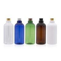 Speicherflaschen Gläser 500ml x 12 Hohe Qualität Gold Silber Bronze Schwarz Aluminium Metall Schraubkappe Flasche mit Kunststoffstopper Kosmetik Shampo