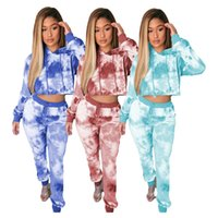 Dropshipping Tie Dye Hooded Pants Sets Sexy Hollow Out Hoodi...