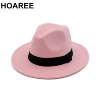 Chapéu Panamá HOAREE rosa Fedora Hat Vintage Mulheres Lã Trilby Jazz Ladies Grande Felt Brim Chapeau Feminino Outono Inverno