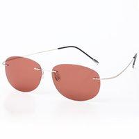Sonnenbrille HBK Titanium Randlose Polarisierte Frauen, die Ultraleicht-Schraubstoff-Sonnenbrille uv400 fahren
