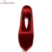 S-noilite 60cm lange gerade Cosplay Perücke Kunsthaar Perücken für Frauen wellenförmiger lockigen Haar Halloween-Party-Schwarz Rot Rosa Perücke