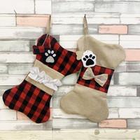 США Фото 2020 Прекрасные рождественские украшения Bone Рождественский чулок 42см * 26см Большой плед щенок Pet Burlap Bone Pet Рождественский подарок конфеты сумки