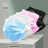 Одноразовые маски для взрослых детей Классическая черная белая розовая пылезащитная нетканая лицевая маска для мужчин Женщины Крышка 3-слойная Chilid FaceMask в наличии