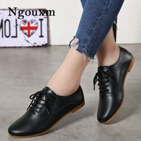 Ngouxm Women Flats Leather Shoes Woman Casual Soft Women's Oxfords Shoes Lace Up Spring Autumn Comfortable Ladies Female