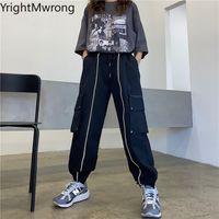 Side Zipper bolso de carga Jogger Pant reflexiva escura tarja preta Streetwear Punk-coreano Plus Size Harajuku solto faixa Harem