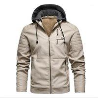 Hombres chaqueta de cuero de diseño de moda gruesa lana de manga larga con capucha para hombre de las chaquetas de abrigo de invierno Nueva ropa de la PU